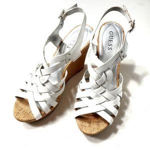 Guess White Strappy Cork-Platform Heeled Sandals
